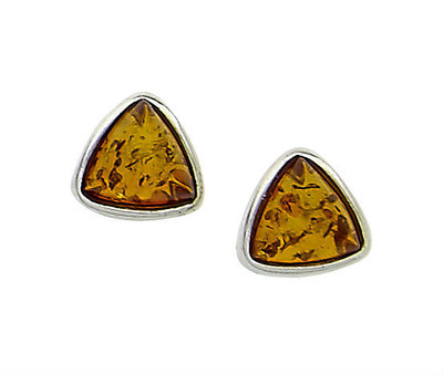 Small Bezel Set Triangular Earrings in Honey Amber
