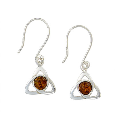 Celtic Trinity Earrings in Honey Amber