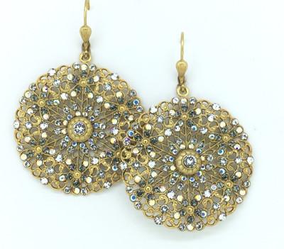 Gold Black Diamond Swarovski Crystal Filigree Medallion Earrings