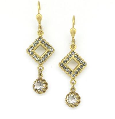 Gold Black Diamond Swarovski Crystal Drop Earrings