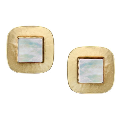 Gold Tone with Mother of Pearl Clip-On Earrings
