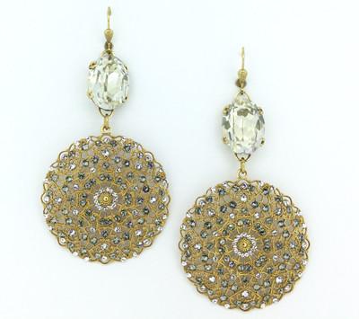 Gold Black Diamond/Clear Swarovski Crystal Lace Filigree Medallion Earrings