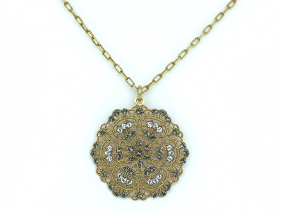 Gold Black Diamond & Clear Swarovski Crystal Medallion Necklace
