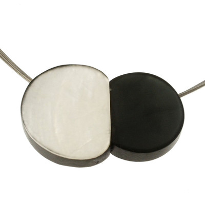 """""""White/Charcoal"""" Small Pebbles Magnetic Front Lock Necklace"""