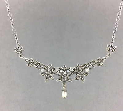 Cultured Pearl Marcasite Necklace