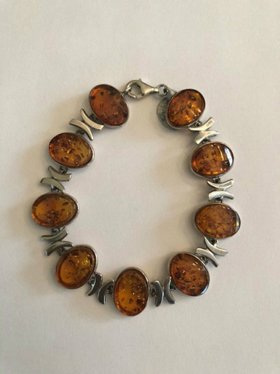 Sterling Silver and Honey Amber Bracelet - 7""