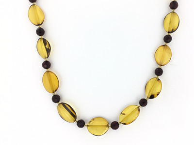 "Multi- Honey Amber Ovals 19"" Necklace"