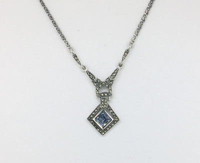 Diamond Shape Aqua Marine Necklace
