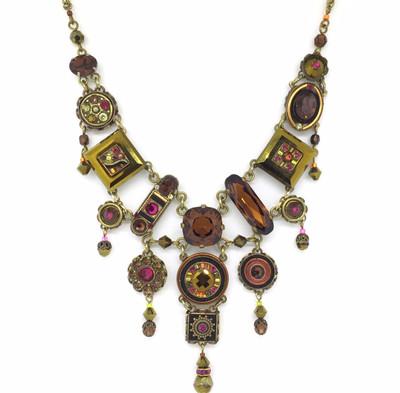 """La Dolce Vita"" Elaborate Necklace, Smoky Topaz Swarovski Crystals, Antique Gold"
