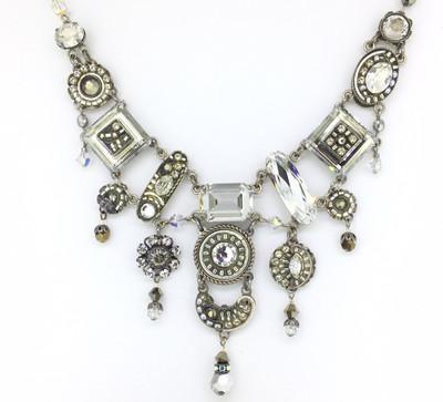 """""""La Dolce Vita""""  Elaborate Necklace, Silver Swarovski Crystals"""