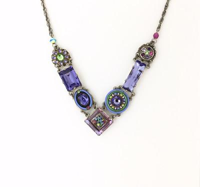 """La Dolce Vita"" Crystal V Necklace, Tanzanite Swarovski Chrystals"