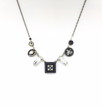 """La Dolce Vita"" Mosaic Necklace, Black & White Swarovski Crystals"