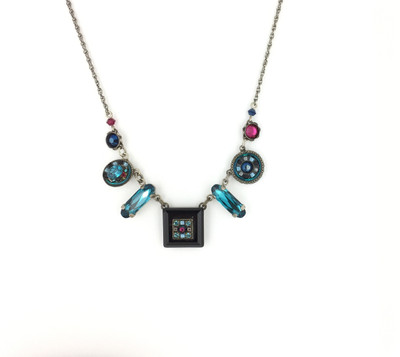 """La Dolce Vita"" Mosaic Necklace, Midnight Blue Swarovski Crystals"