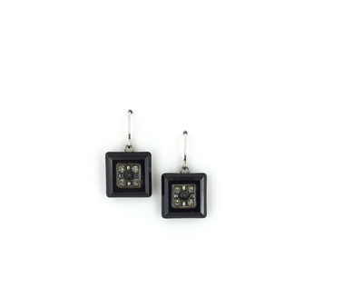 """La Dolce Vita"" Square Earrings, Jet Swarovski Crystals"