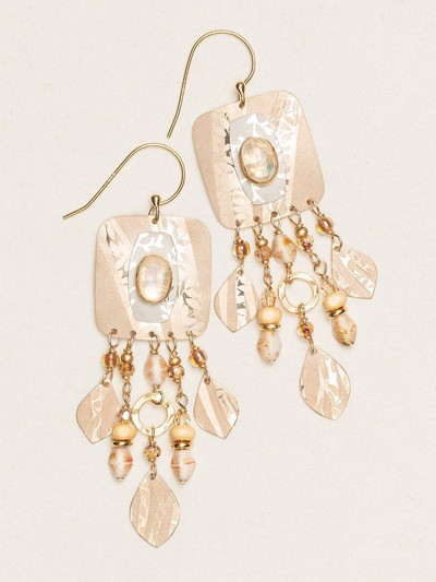 "Admirers of our Mystic Falls Earrings will be mesmerized by the spectacular cascade of glistening beads and shimmering leaflet cut outs. Dramatic coloring flows like streams of rushing water, providing the background for a gorgeous gemstone drop amid a pool of semi-precious metals. MORE INFORMATION ‰Û¢ Rainbow Moonstone ‰Û¢ Gold filled, sterling silver and gold overlay ‰Û¢ Bohemian glass ‰Û¢ Wood ‰Û¢ Swarovski crystal ‰Û¢ Gold overlay ear wires ‰Û¢ 2 3/4"" l. x 3/4"" w."