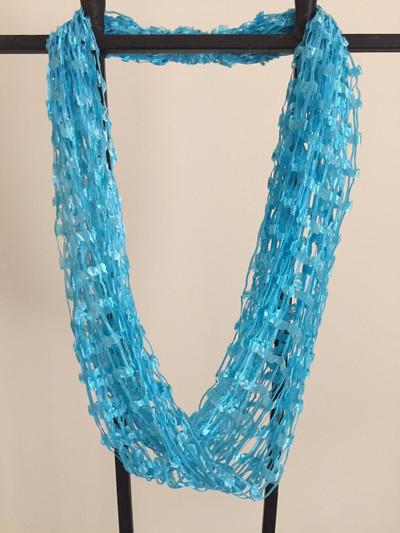 Open Weave Scarf Necklace, Sea Breeze
