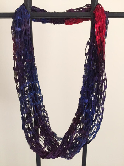 Open Weave Scarf Necklace,  Twilight Glow