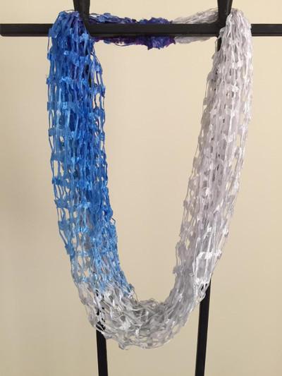 Open Weave Scarf Necklace,  Arctic Breeze