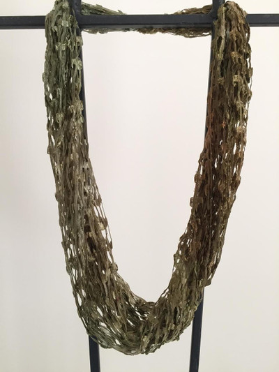 Open Weave Scarf Necklace,  Spanish Moss