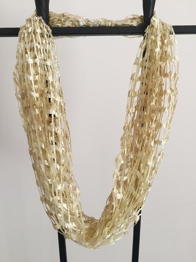 Open Weave Scarf Necklace, Butterscotch Cream