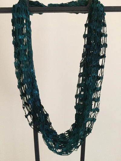 Open Weave Scarf Necklace, Midnight Shadow