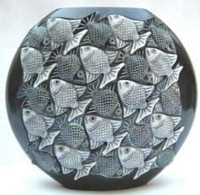 Fish Marble Vase, Ebony, A/C - Symetree Series