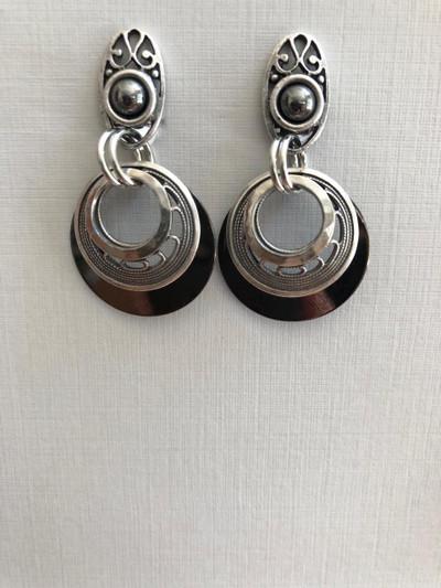 Filigree Moons, Clip on Earrings, Matte Silver, Hematite