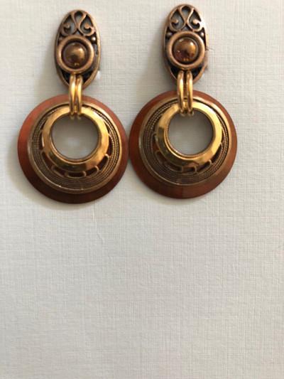 Filigree Moons, Clip on Earrings, Matte Gold, Brown