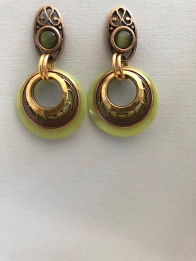 Filigree Moons, Post Earrings, Matte Gold, Light Green