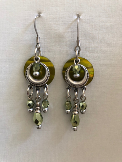 Circle of Light - French Hook Earrings, Matte Silver, Green
