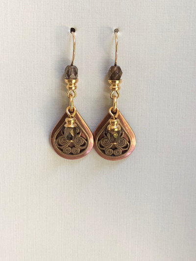 Cantonese Beads - French Hook Earrings, Matte Gold - Copper