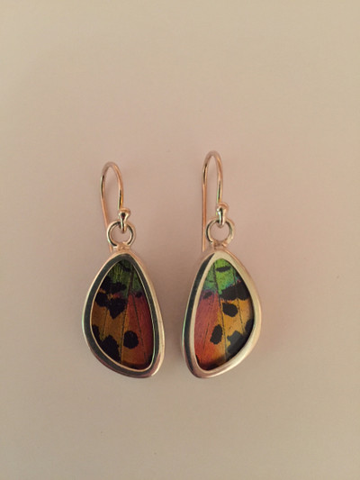 Madagascar Sunset Moth Wing Earrings (X-Small)