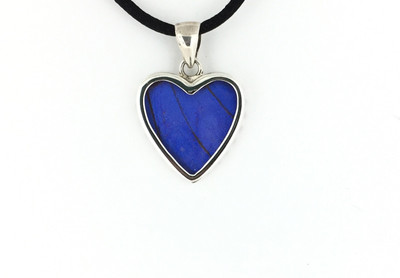 Blue Morpho Butterfly Wing Heart-Shaped Pendant (Small)
