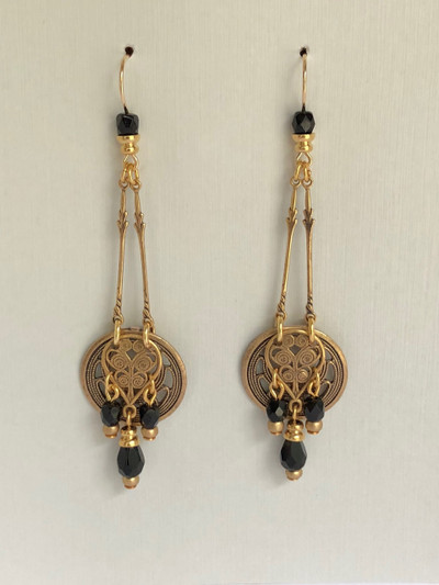 Animistic Orbs - French Hook Earrings, Matte Gold, Jet