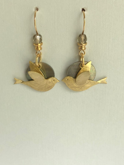 Dainty Doves  - French Hook, Matte Gold - Mother of Pearl