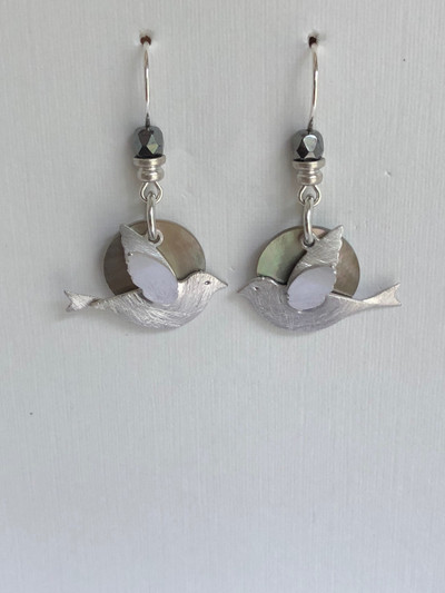 Dainty Doves  - French Hook, Matte Silver - Hematite