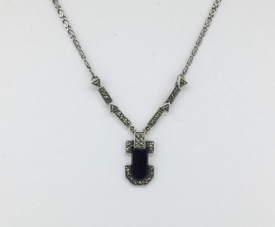 Art Deco Onyx/Marcasite Necklace