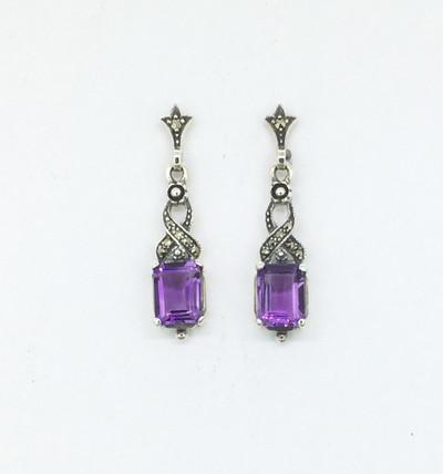 Emerald Cut Amethyst/Marcasite Earrings