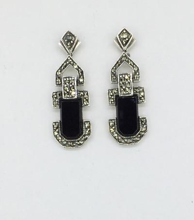 Art Deco Marcasite Onyx Post Drop Earrings