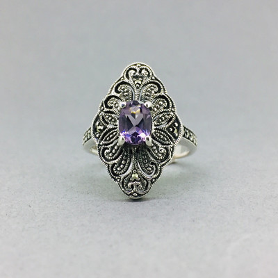 Faceted Amethyst Marcasite Ring