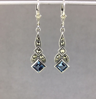 Aquamarine/Marcasite Lever Back Earrings