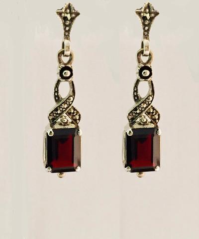 Emerald Cut Garnet Marcasite Post Earrings