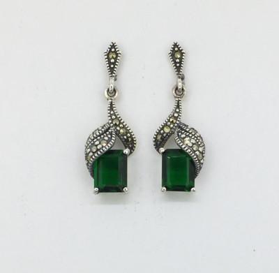 Emerald Cut Emerald/Marcasite Post Earrings