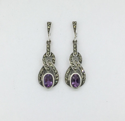 Oval Amethyst Marcasite Post Earrings