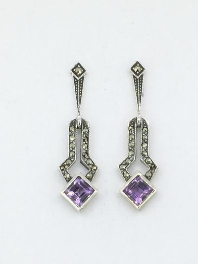 Diamond Shape Amethyst Post Drop Earrings