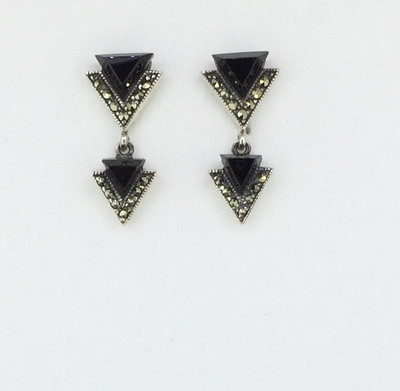 Double Triangle Onyx Marcasite Post Earrings