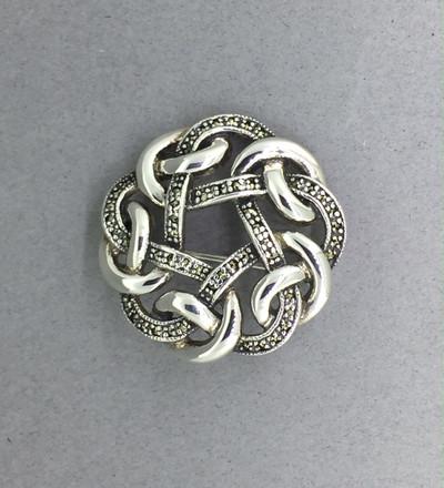 Marcasite Round Swirl Pin
