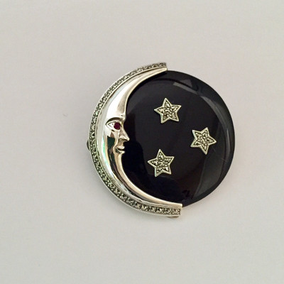 Marcasite w/ Moon & Star Onyx, Ruby Pin
