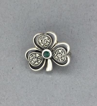 Marcasite w/3 Leaf Clover Emerald Pin