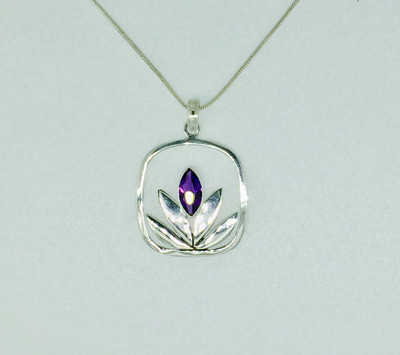 Amethyst Lotus Flower Sterling Silver Necklace